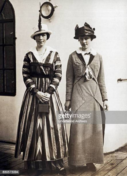 Two young women Estele and Maud O'Brien arrive on the RMS Olympic passenger liner New York New York July 8 1914 The Olympic is the White Star Line...