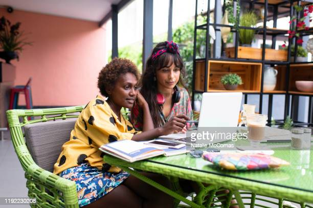 two young women friends at a cafe working on laptop - showus stock pictures, royalty-free photos & images