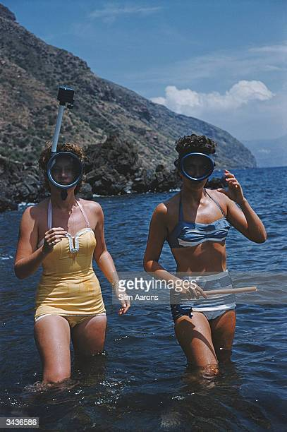 Two young women going snorkelling