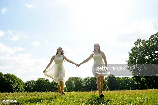Two young women hand in hand on a meadow