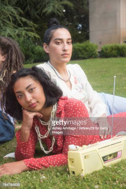 Two Young Women Hanging Out Outside