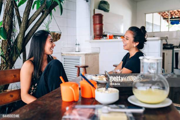 Two young women having breakfast
