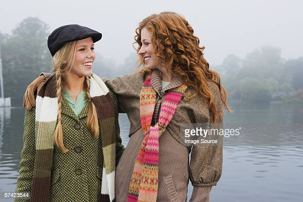 Two young women in park