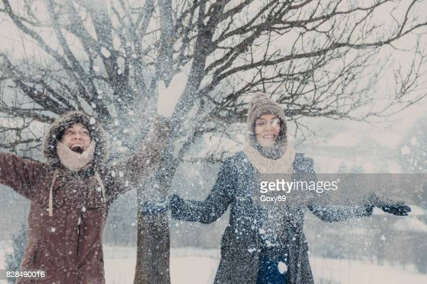 two young women in the snow