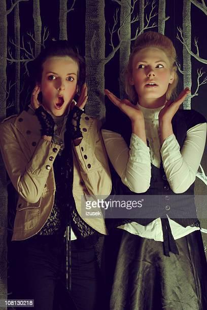 duas mulheres jovens em roupa vitoriano - izusek imagens e fotografias de stock