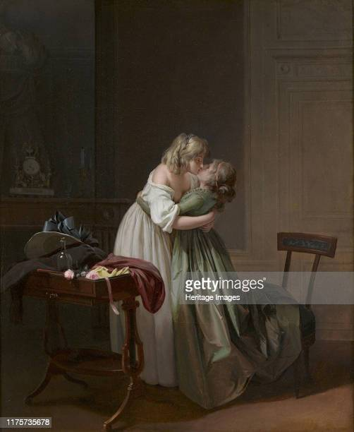 Two Young Women Kissing circa 17901794 Found in the Collection of The Ramsbury Manor Foundation Artist Boilly LouisLéopold