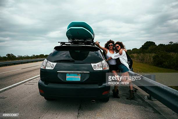 Two young women on a road trip