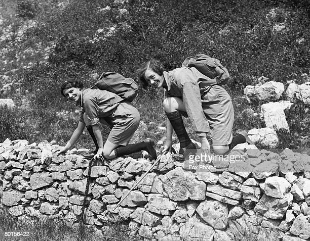 Two young women out hiking in the Mendip Hills around Cheddar in Somerset 1st August 1932
