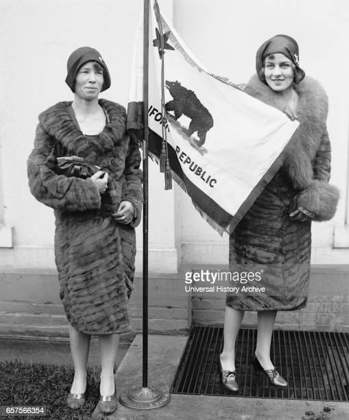 Two Young Women Presenting California State Flag to US President Herbert Hoover Washington DC USA National Photo Company March 1929