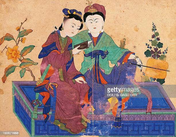 Two young women reading intently Chinese influence painting school of Tabriz Turkey Turkish Civilisation 15th century
