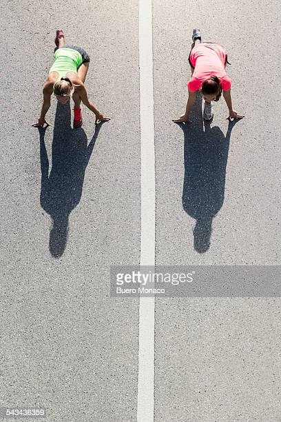 two young women running early in the morning