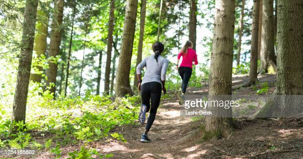 two young women running in a forest - cross country running stock pictures, royalty-free photos & images
