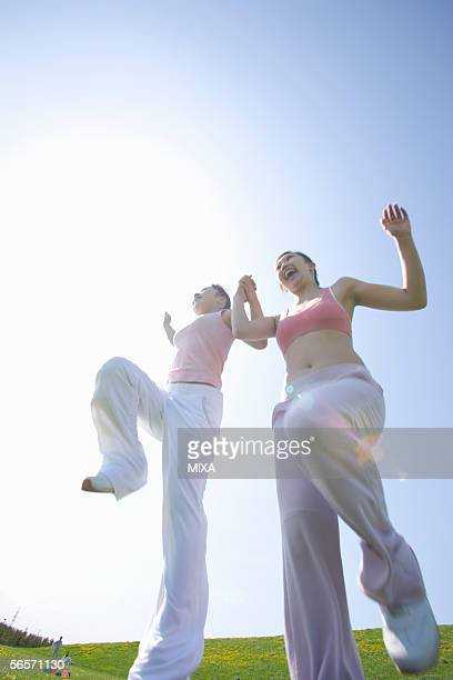 Two young women skipping in field