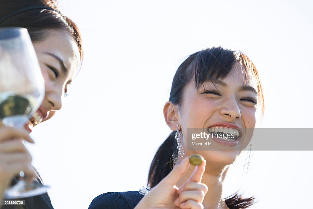two young women with big smile : Stock Photo