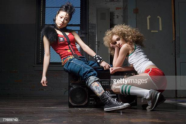 Two Young Women with Ghetto Blaster