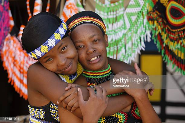 two young zulu friends from south africa - zulu women stock pictures, royalty-free photos & images