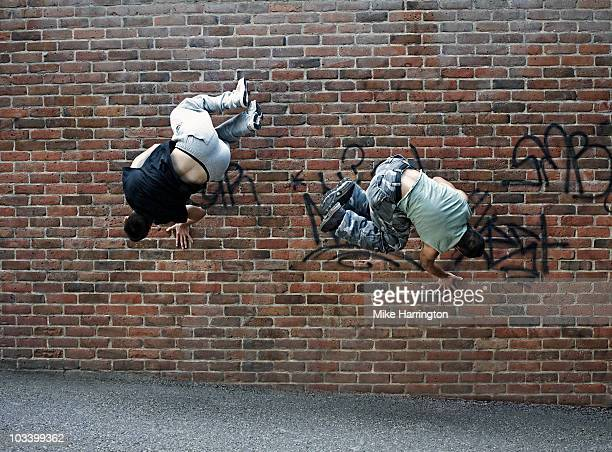 Two youths doing parkour