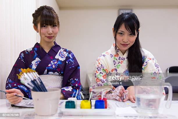Two Yukata Women painting on Furin wind bell