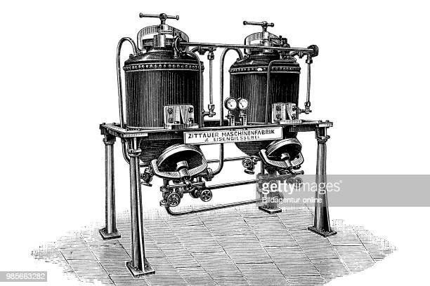 A twobody extractor from the engineering factory and iron foundry in Zittau Germany industrial product from the year 1880 digital improved...