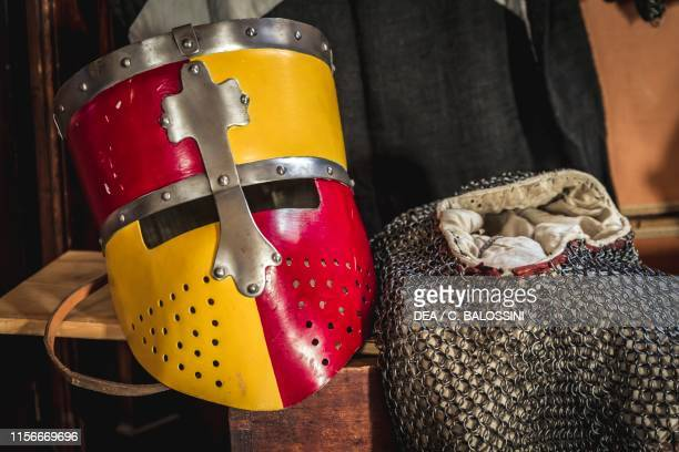 Two-coloured great helm and chain mail, Pallavicino Castle