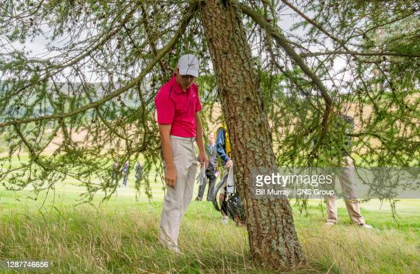 Tommy Fleetwood looks at his ball after his wayward drive on the 18th.