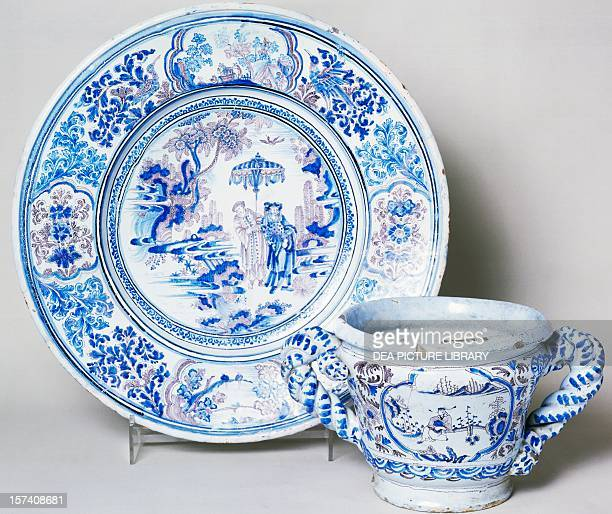 Twohandled cup and plate with blue decorations ceramic Nevers manufacture Burgundy France 17th century Sevres Musée National De Céramique