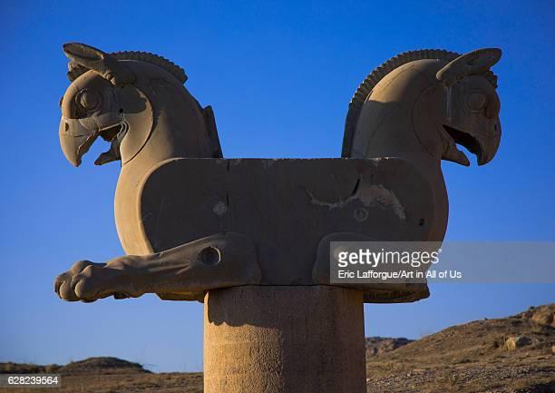 Twoheaded griffin in Persepolis Fars Province Marvdasht Iran on October 15 2016 in Marvdasht Iran