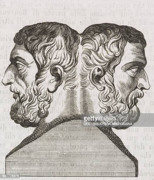 Twoheaded hermae artefacts in the Basilica of St Mary Major Rome Lazio Italy engraving from L'album giornale letterario e di belle arti January 20...