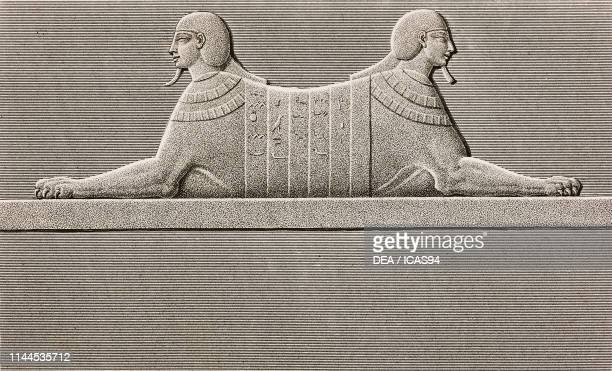 Twoheaded sphinx relief Valley of the Kings Theban Necropolis Luxor Egypt engraving by LouisJean Allais after a drawing by Chabrol from Description...