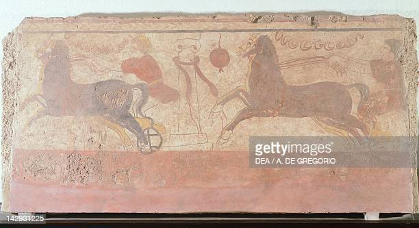 A twohorsed chariot race fresco from Tomb 10 at the Necropolis AndriuoloLaghetto in Paestum Campania Italy Ancient Greek civilization Magna Graecia...