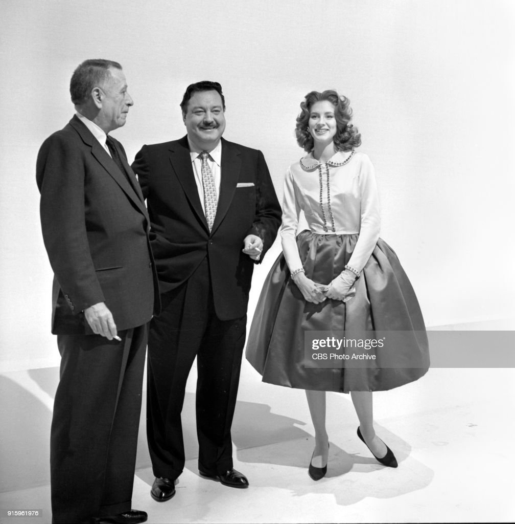 Two-hour CBS television special, The Fabulous Fifties. A review of the previous decade through musical and comedy skits, commentary and news clips. Pictured from left is Leland Hayward, Jackie Gleason, Suzy Parker at rehearsal. Image dated January 26, 1960. Show date January 31, 1960.