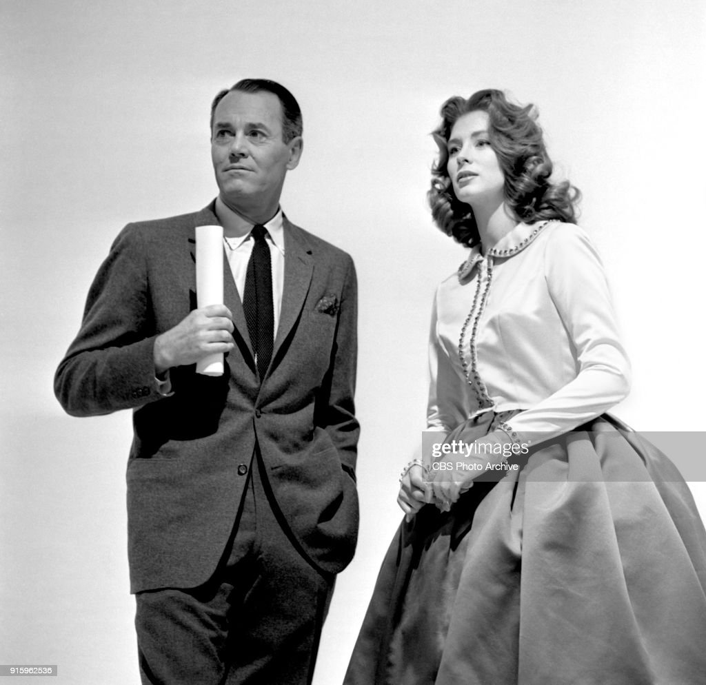 Two-hour CBS television special, The Fabulous Fifties. A review of the previous decade through musical and comedy skits, commentary and news clips. Pictured from left is Henry Fonda and Suzy Parker at rehearsal. Image dated January 26, 1960. Show date January 31, 1960.