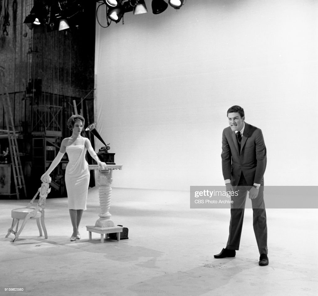Two-hour CBS television special, The Fabulous Fifties. A review of the previous decade through musical and comedy skits, commentary and news clips. Pictured is Julia Andrews next to a cylinder phonograph (left) and Dick Van Dyke. Image dated January 26, 1960. Show date January 31, 1960.