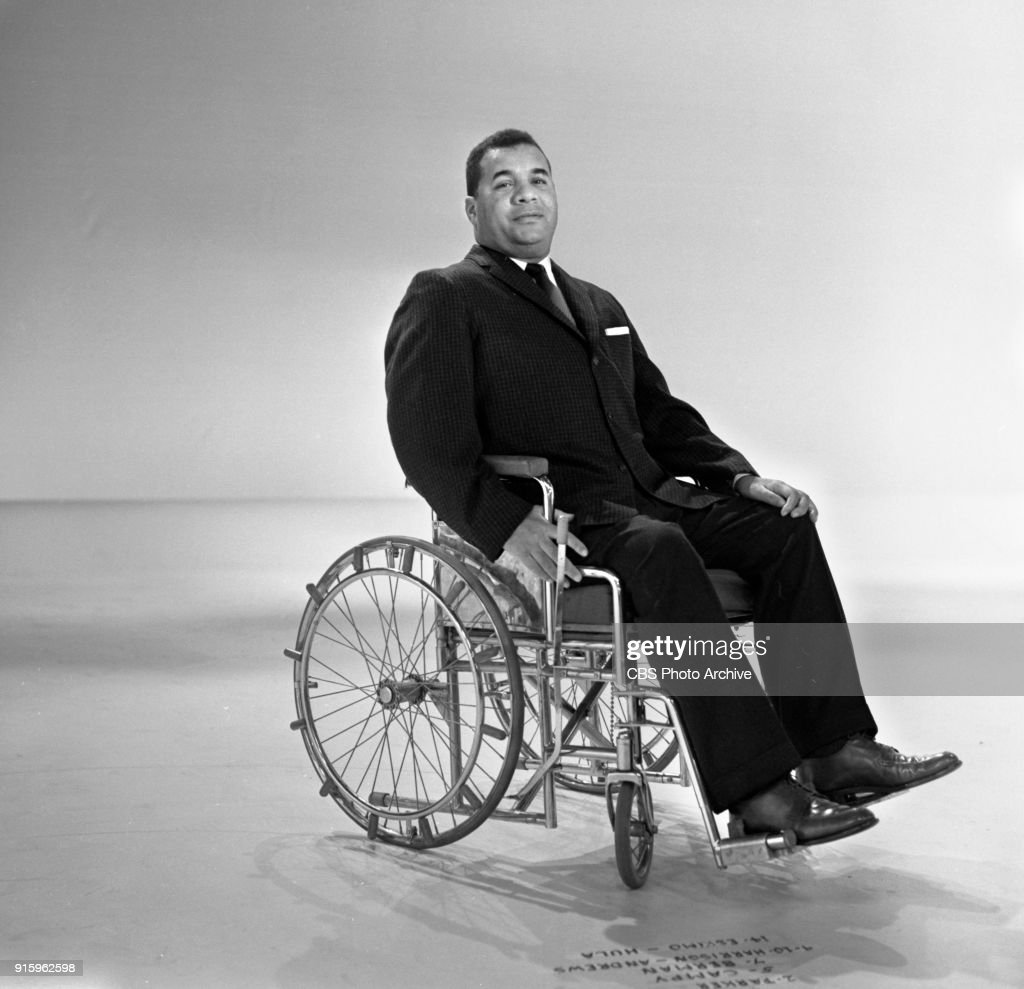 Two-hour CBS television special, The Fabulous Fifties. A review of the previous decade through musical and comedy skits, commentary and news clips. Pictured is Brooklyn Dodgers baseball player Roy Campanella, wheelchair bound. He is paralyzed due to an auto accident in 1958. Image dated January 26, 1960. Show date January 31, 1960.