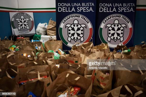 Twohundred food bags ready to be handed for the Italian people with economic difficulties in Ostia suburb of Rome on November 1 2017 in Rome Italy...