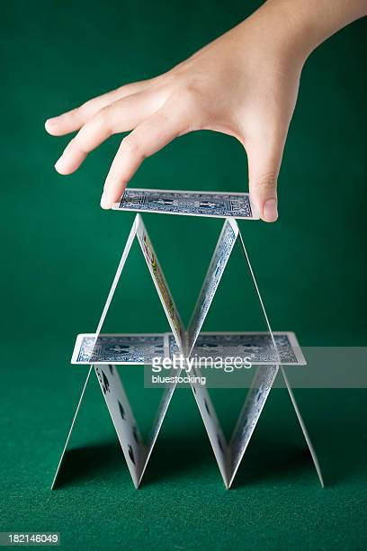 Two-layer solitaire tower in green background