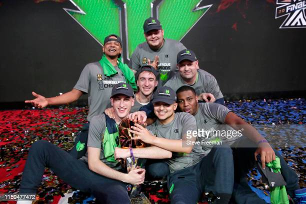 Wolves Gaming pose for a group photo after Game Five of the NBA 2K League Finals on August 3 2019 at the NBA 2K Studio in Long Island City New York...