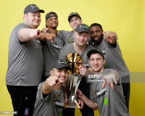 Wolves Gaming poses for a group portrait after Game Five of the NBA 2K League Finals on August 3, 2019 at the NBA 2K Studio in Long Island City, New...