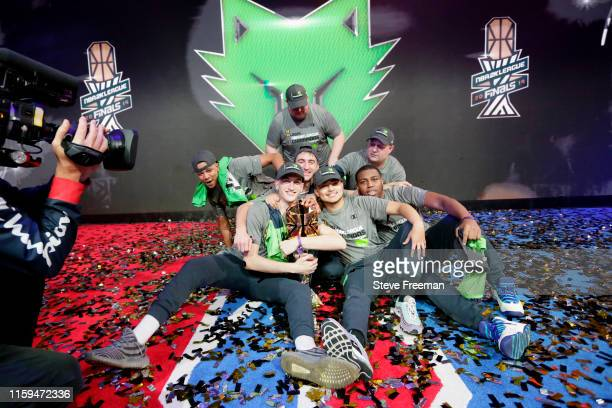 Wolves pose for a portrait after winning Game Five of the NBA 2K League Finals on August 3 2019 at the NBA 2K Studio in Long Island City New York...