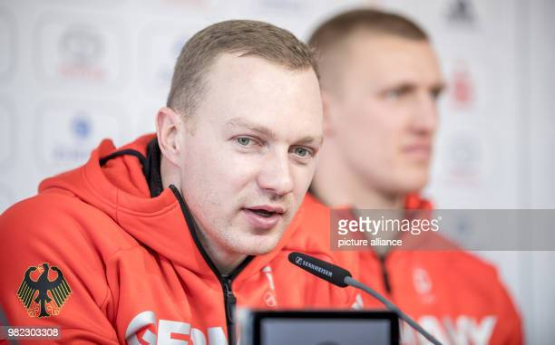 Twoman bobsleigh pilot Francesco Friedrich next to brakeman Thorsten Margis during the inaugural press conference of the German squad in Pyeongchang...