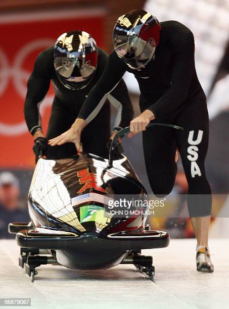 Twoman bobsleigh team USA 1 piloted by Todd Hays with brakeman Pavle Jovanovic start their run during heat one at the Turin 2006 Winter Olympic Games...