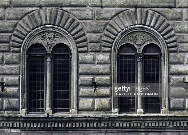 Twomullioned windows Palazzo Strozzi Alinari Via de' Tornabuoni Florence Tuscany Italy