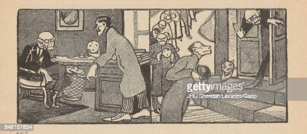 Twopanel cartoon from the Russian satirical journal Na Rasputi with one panel depicting a man in a suit sitting behind a desk in his home with...