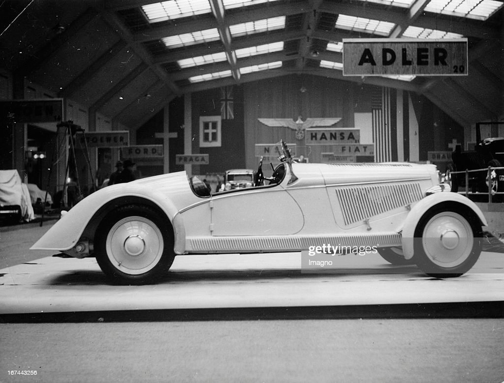 A two-seater sports car of the Adler Company at the International Motor Show 1935 at Kaiserdamm/Berlin. Photograph. (Photo by Imagno/Getty Images) Ein Sport Zweisitzer der Adler Werke auf der Internationalen Automobil Ausstellung 1935 am Kaiserdamm/Berlin. Photographie. .