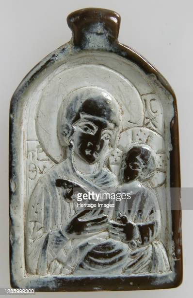 Two-Sided Pendant with the Virgin and Christ Child and John the Forerunner, Byzantine, 1100-1300. Artist Unknown.