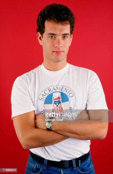 Twotime Academy Awardwinning actor Tom Hanks poses during a 1986 West Hollywood California studio photo session to promote his newest movie The Money...