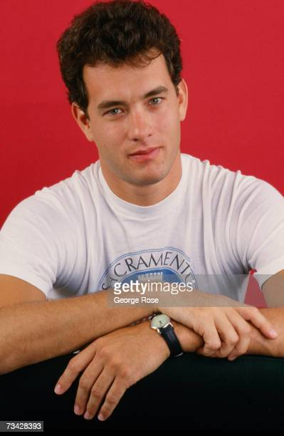 Twotime Academy Awardwinning actor Tom Hanks poses during a 1986 West Hollywood California studio photo session to promote his newest movie 'The...