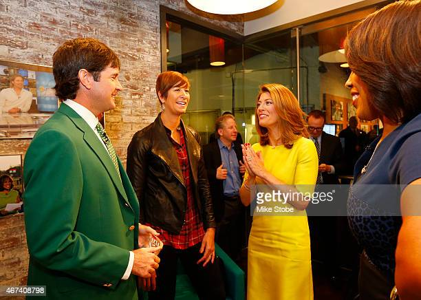 Twotime defending Masters Champion Bubba Watson and his wife Angie Watson speak to Norah O'Donnell and Gayle King prior to his appearance on CBS This...