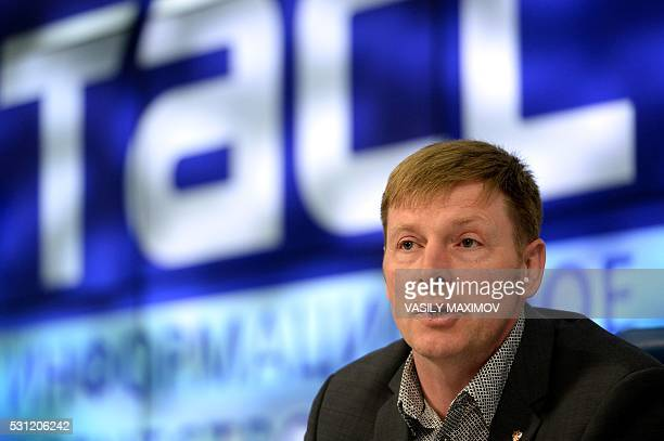 Twotime gold medal winner at the 2014 Sochi Winter Olympics Russia's bobsledder Alexander Zubkov speaks during a press conference on May 13 2016 in...