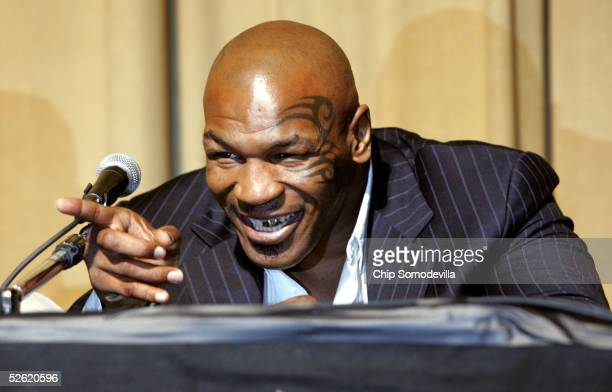 Twotime heavyweight boxing champion Mike Tyson announces the details of his next fight against Irish boxer Kevin McBride during a press conference...